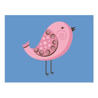 Retro rosa Vogel Postkarte