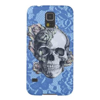 Retro Rosen-Schädel auf weicher blauer Spitze Samsung S5 Hüllen