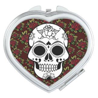 Retro Rosenschädel rockabilly kompakter Spiegel Taschenspiegel