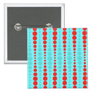 Retro Rot-und Türkis-Punkt-Knopf Quadratischer Button 5,1 Cm