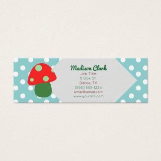 Retro rote Pilz-Visitenkarten Mini Visitenkarte