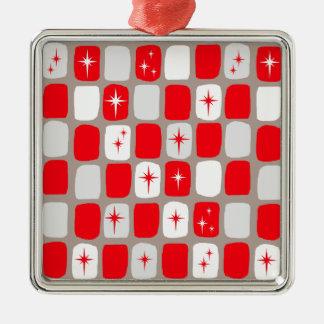Retro rote Starburts Weihnachtsverzierung Silbernes Ornament