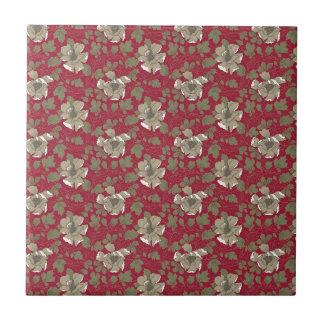 Retro rotes Blumen Kleine Quadratische Fliese