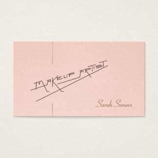 Rétro salon de beauté de maquilleur rose-clair cartes de visite