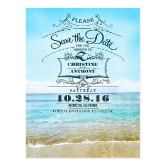 Retro Save the Date Postkarten der Strandhochzeit