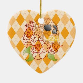 Retro Schädelgelbzuckerschädel Keramik Ornament