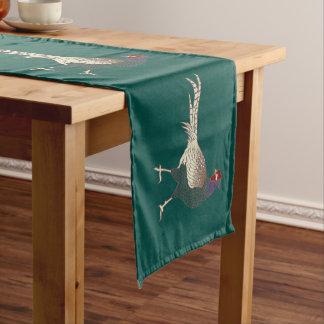 Retro schicker Fasanvogel-Türkis-Tabellenläufer Großer Tischläufer