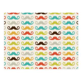 Retro Schnurrbart-Muster Postkarte
