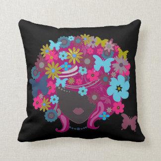 Retro schwarzes Blumen-Mädchenkunst Dekorkissen Kissen