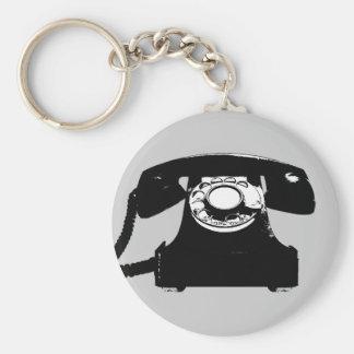 Retro schwarzes Telefon Schlüsselanhänger