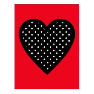 Retro schwarzes Tupfen-Herz auf rotem Hintergrund Postkarte
