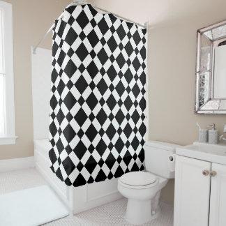 Retro schwarzes u. weißes Diamant-Schachbrett Duschvorhang