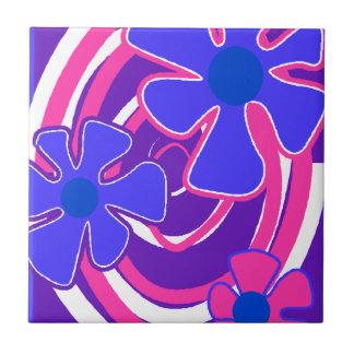 Retro Sechzigerjahre Blumen-Galaxie-Keramik deckt  Kleine Quadratische Fliese