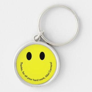 Retro Smiley DANKEN IHNEN Text-helles Gelb Schlüsselanhänger