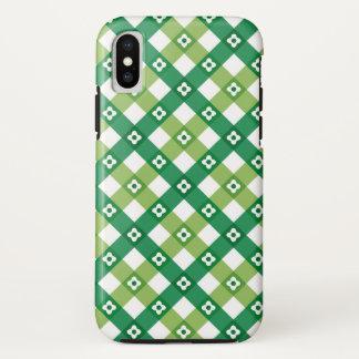 Retro Sommer-Gänseblümchen-Grün-Karo-karierter iPhone X Hülle