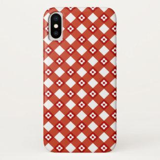 Retro Sommer-Gänseblümchen-rote Karo-karierter iPhone X Hülle