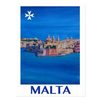 RETRO Stadt PLAKAT Maltas Valletta von KnightsII Postkarte