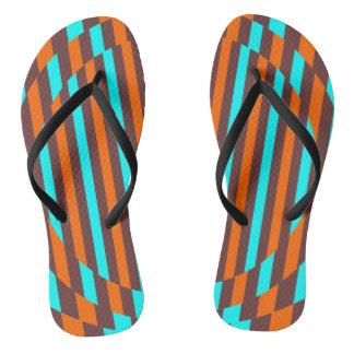 Retro Streifen (Babyblau, Braun, Orange) Flip Flops