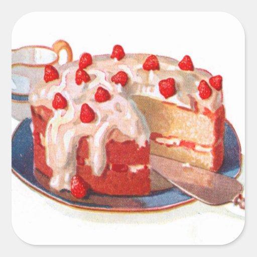 Rétro tarte sablée vintage de fraise de nourriture autocollants carrés