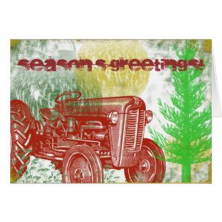 Retro Traktor-Weihnachtskarte Grußkarte