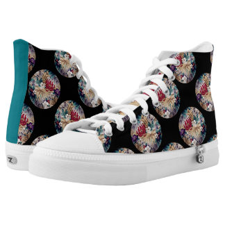 Retro tropisches Blumen-Muster Hoch-geschnittene Sneaker