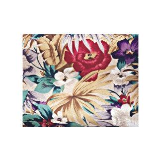 Retro tropisches Blumen-Muster Leinwanddruck