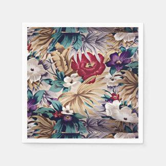 Retro tropisches Blumen-Muster Papierservietten