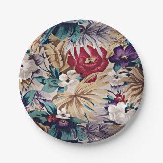 Retro tropisches Blumen-Muster Pappteller
