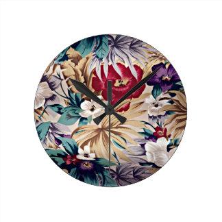 Retro tropisches Blumen-Muster Runde Wanduhr