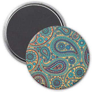 Retro Türkis-Regenbogen-Paisley-Motiv Runder Magnet 7,6 Cm