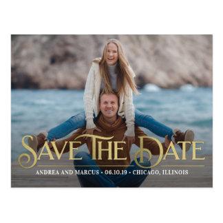 Retro Überlagerungs-moderne Save the Date Postkarte