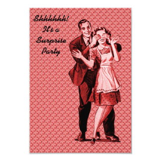 Retro Überraschungs-Party V2 8,9 X 12,7 Cm Einladungskarte