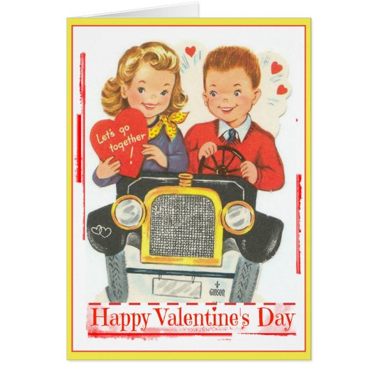 Retro Valentinsgruß-Jugendliche in der Grußkarte
