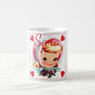 Retro Valentinsgruß-Mädchen Personnalised Kaffeetasse