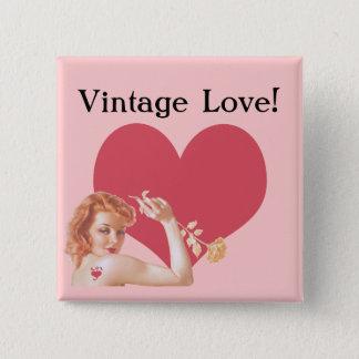 Retro Vierzigerjahre Liebe Quadratischer Button 5,1 Cm