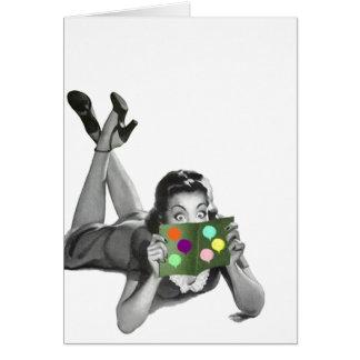 Retro Vintage Dame mit Ballon-Party-Karten-freiem Karte
