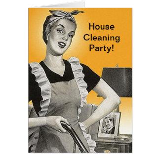 Retro Vintage Haus-Reinigungs-Party-Duschen-Karten Karte