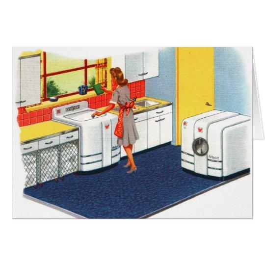 Retro Vintage Kitsch-Vorort-50er Waschmaschine u. Karte