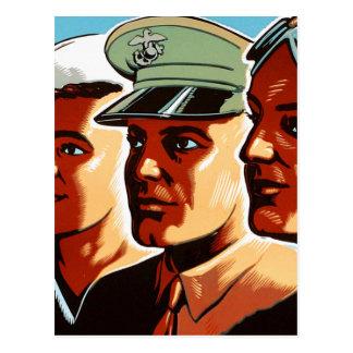 Retro Vintage Kriegs-Militär-bewaffnete Postkarte