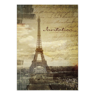 retro Vintage Turmmode Skriptparis Effiel 12,7 X 17,8 Cm Einladungskarte