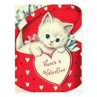 Retro Vintage Valentine-Feiertagskatzenpostkarte Postkarte