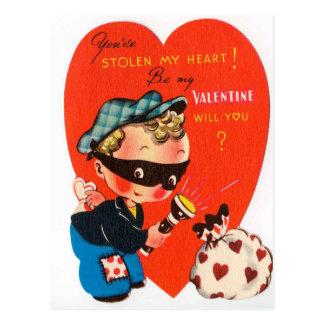 Retro Vintage Valentinejunge Feiertagspostkarte Postkarte
