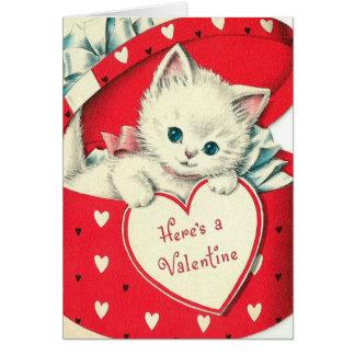 Retro Vintage Valentinekatze addieren Karte