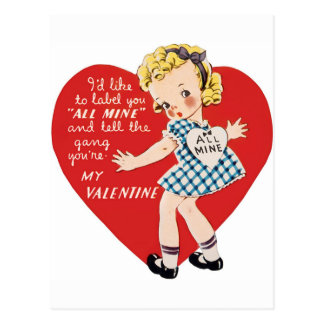 Retro Vintage Valentinemädchen Feiertagspostkarte Postkarte