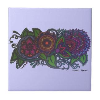 Retro, Vintager Blumenentwurf Keramikkachel