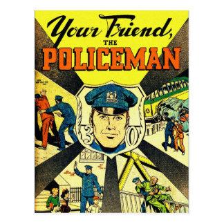 Retro Vintager Kitsch Ihr Freund der Polizist Postkarte