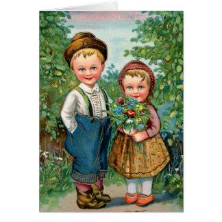 Retro Vintager Kitsch Schweden Norwegen HjarHiq Grußkarte