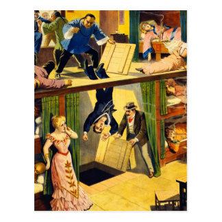 Retro Vintager Kitschvaudeville-'Opium-Höhle Postkarte