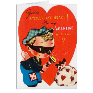 Retro Vintager Valentinejunge addieren Karte