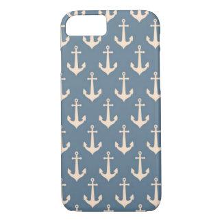 Retro Vintages blaues weißes Anker-Muster iPhone 8/7 Hülle